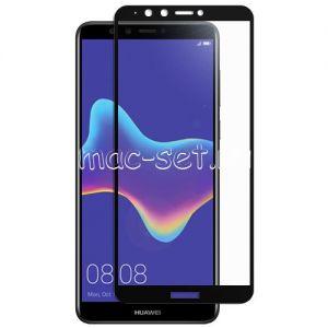Защитное стекло для Huawei Y9 (2018) [на весь экран] (черное)