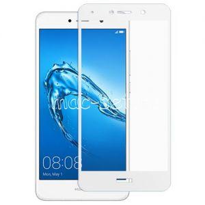 Защитное стекло для Huawei Y7 (2017) [на весь экран] (белое)