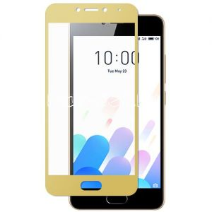 Защитное стекло для Meizu M5c [на весь экран] Aiwo (золотистое)