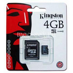 Карта памяти microSDHC 4GB Class 4 Kingston + SD adapter
