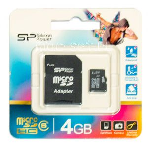Карта памяти microSDHC 4GB Class 6 Silicon Power + SD adapter
