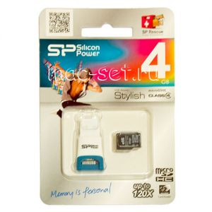 Карта памяти microSDHC 4GB Class 4 Silicon Power + USB reader