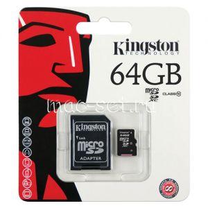 Карта памяти microSDHC 64GB Class 10 Kingston + SD adapter