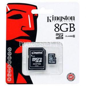 Карта памяти microSDHC 8GB Class 10 Kingston + SD adapter