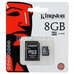 Карта памяти microSDHC 8GB Class 4 Kingston + SD adapter