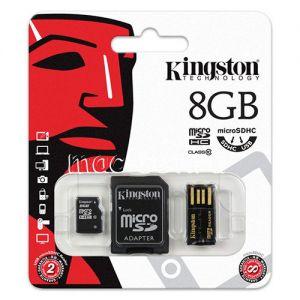 Карта памяти microSDHC 8GB Class 10 Kingston + SD USB adapter