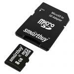 Карта памяти microSDHC SmartBuy SB8GBSDCL10-01 + SD Adapter (8Gb)