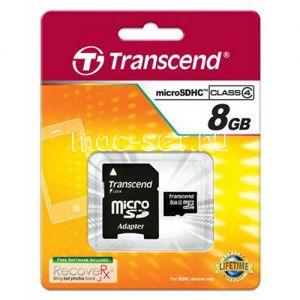 Карта памяти microSDHC 8GB Class 4 Transcend + SD adapter