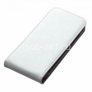 Чехол вертикальный флип кожаный для Motorola Moto G / G Dual SIM (белый)