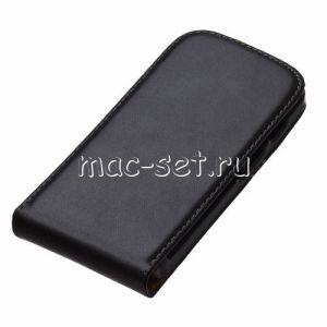 Чехол вертикальный флип кожаный для Motorola Moto X (черный)