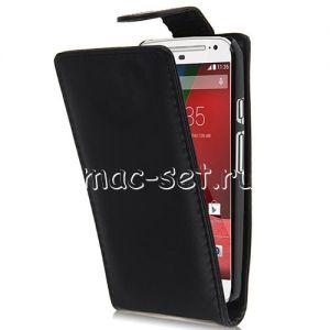 Чехол вертикальный флип кожаный для Motorola Moto G 2nd Gen (черный)