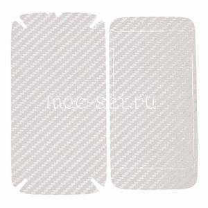 """Виниловая наклейка """"карбон"""" для Motorola Moto G / G Dual SIM [комплект] (белая)"""