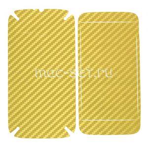 """Виниловая наклейка """"карбон"""" для Motorola Moto G / G Dual SIM [комплект] (золотистая)"""