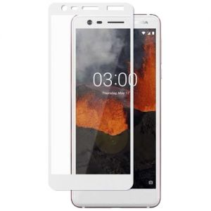 Защитное стекло для Nokia 3.1 [на весь экран] (белое)