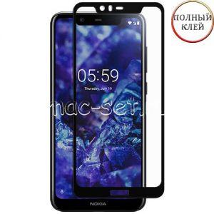Защитное стекло для Nokia 5.1 Plus [клеится на весь экран] (черное)