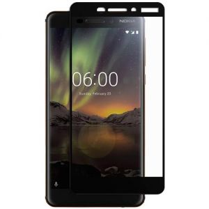 Защитное стекло для Nokia 6.1 [на весь экран] (черное)