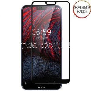 Защитное стекло для Nokia 6.1 Plus [клеится на весь экран] (черное)