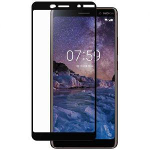 Защитное стекло для Nokia 7 Plus [на весь экран] (черное)