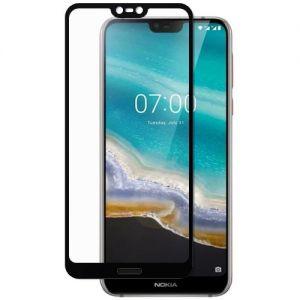 Защитное стекло для Nokia 7.1 [на весь экран] (черное)