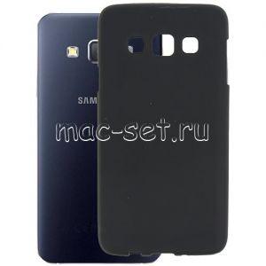 Чехол-накладка силиконовый для Samsung Galaxy A3 A300 (черный 0.8мм)