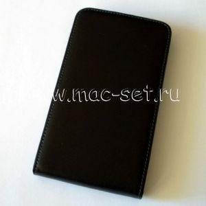 Чехол вертикальный флип кожаный для Samsung Galaxy Note N7000 (черный)