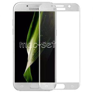 Защитное стекло 3D для Samsung Galaxy A7 (2017) A720 [изогнутое на весь экран] (белое)