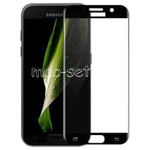 Защитное стекло 3D для Samsung Galaxy A7 (2017) A720 [изогнутое на весь экран] (черное)