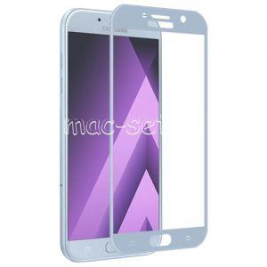 Защитное стекло 3D для Samsung Galaxy A5 (2017) A520 [изогнутое на весь экран] (голубое)