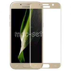 Защитное стекло 3D для Samsung Galaxy A7 (2017) A720 [изогнутое на весь экран] (золотистое)