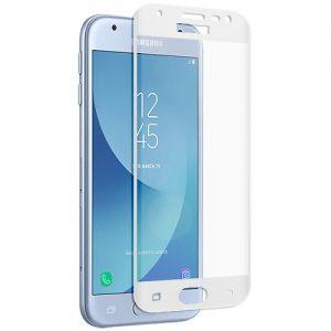 Защитное стекло 3D для Samsung Galaxy J3 (2017) J330 [изогнутое на весь экран] (белое)