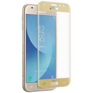 Защитное стекло 3D для Samsung Galaxy J3 (2017) J330 [изогнутое на весь экран] (золотистое)