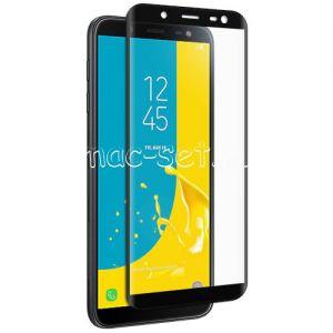 Защитное стекло 3D для Samsung Galaxy J6 (2018) J600 [изогнутое на весь экран] (черное)