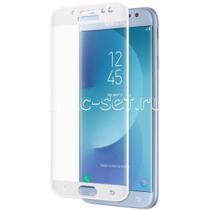 Защитное стекло 3D для Samsung Galaxy J7 (2017) J730 [изогнутое на весь экран] (белое)