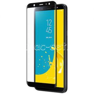 Защитное стекло 3D для Samsung Galaxy J8 J810 [изогнутое на весь экран] (черное)