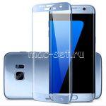 Защитное стекло 3D для Samsung Galaxy S7 edge G935 [изогнутое на весь экран] (синее)