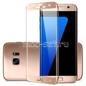 Защитное стекло 3D для Samsung Galaxy S7 edge G935 [изогнутое на весь экран] (розовое)