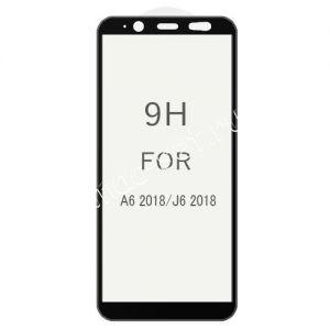 Защитное стекло 3D для Samsung Galaxy J6 (2018) J600 [изогнутое клеится на весь экран] (черное)