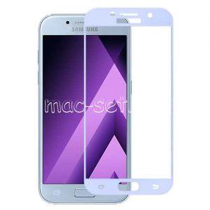 Защитное стекло для Samsung Galaxy A3 (2017) A320 [на весь экран] Aiwo (голубое)