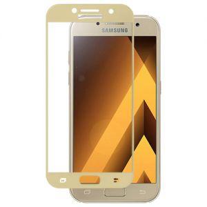 Защитное стекло для Samsung Galaxy A3 (2017) A320 [на весь экран] (золотитстое)