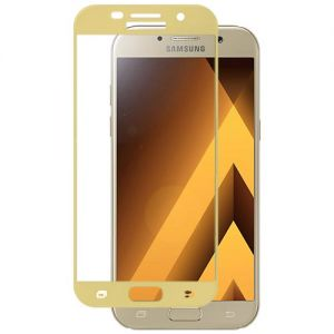 Защитное стекло для Samsung Galaxy A5 (2017) A520 [на весь экран] (золотистое)