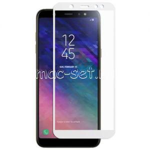 Защитное стекло для Samsung Galaxy A6 (2018) A600 [на весь экран] (белое)