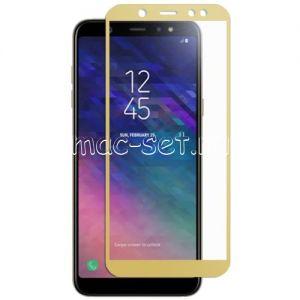 Защитное стекло для Samsung Galaxy A6 (2018) A600 [на весь экран] (золотистое)