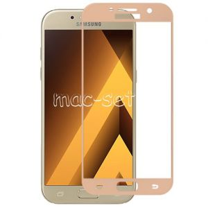Защитное стекло для Samsung Galaxy A7 (2017) A720 [на весь экран] Aiwo (розовое)