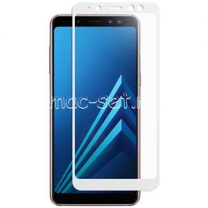 Защитное стекло для Samsung Galaxy A8 (2018) A530 [на весь экран] (белое)