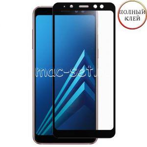 Защитное стекло для Samsung Galaxy A8+ (2018) A730 [клеится на весь экран] Red Line (черное)