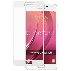 Защитное стекло для Samsung Galaxy C5 C5000 [на весь экран] (белое)