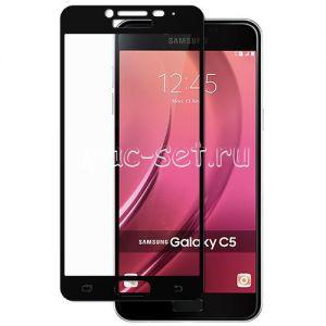 Защитное стекло для Samsung Galaxy C5 C5000 [на весь экран] (черное)