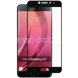 Защитное стекло для Samsung Galaxy C7 C7000 [на весь экран] (черное)