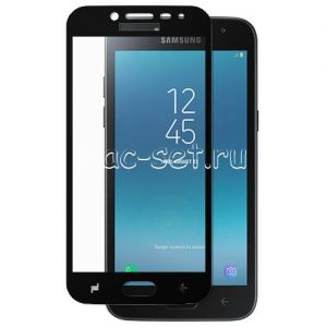 Защитное стекло для Samsung Galaxy J2 (2018) J250 [на весь экран] (черное)