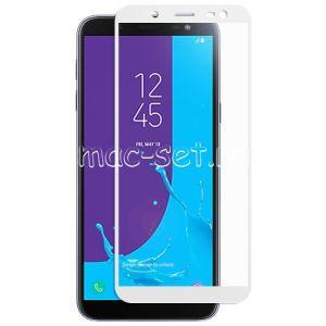 Защитное стекло для Samsung Galaxy J6 (2018) J600 [на весь экран] (белое)